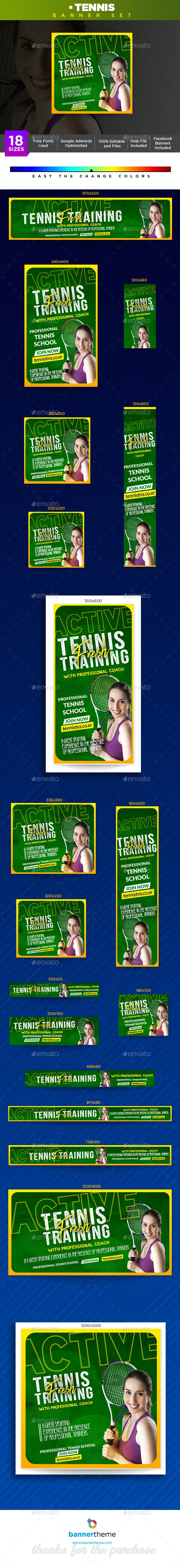 Tennis Banner - Banners & Ads Web Elements