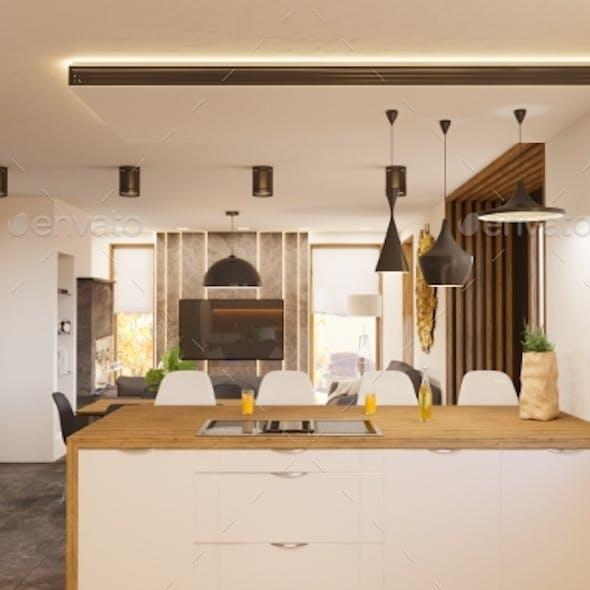 3d Render Modern Living Room and Kitchen Interior