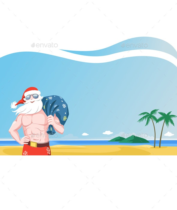 Santa Claus Wearing Sunglasses Carrying a Sack of Presents on a Tropical Beach - Christmas Seasons/Holidays