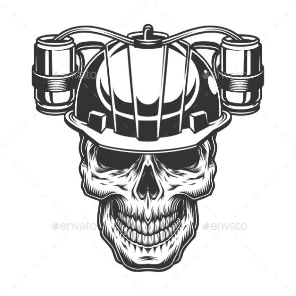 Skull in Beer Helmet - Food Objects