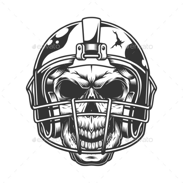 Skull in the Football Helmet - Sports/Activity Conceptual