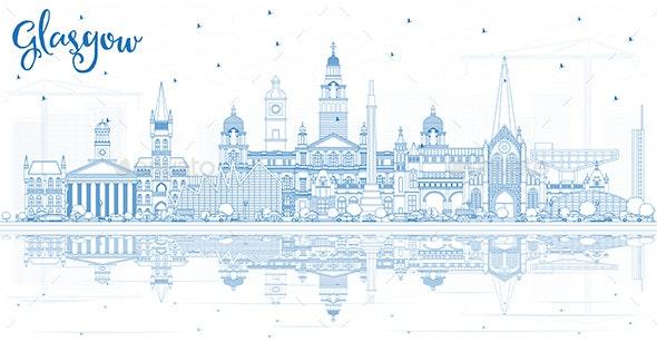 Outline Glasgow Scotland City Skyline - Buildings Objects