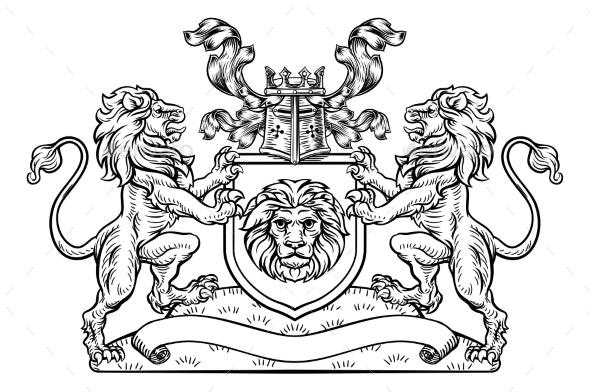 Shield Crest Lion Heraldic Coat of Arms Emblem - Miscellaneous Vectors