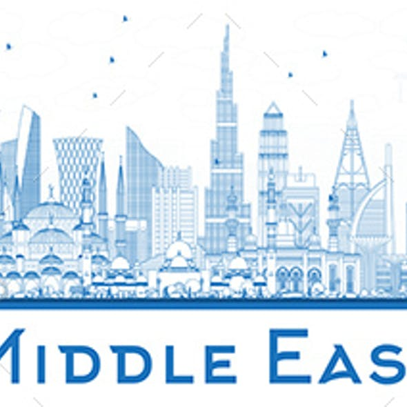 Outline Middle East City Skyline with Blue Buildings