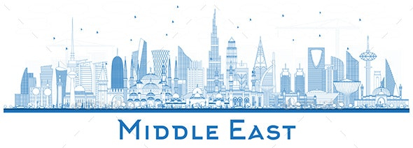 Outline Middle East City Skyline with Blue Buildings - Buildings Objects