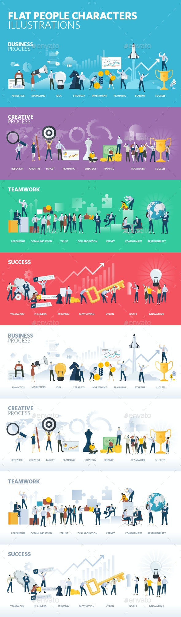 Flat Design People Illustrations - Concepts Business