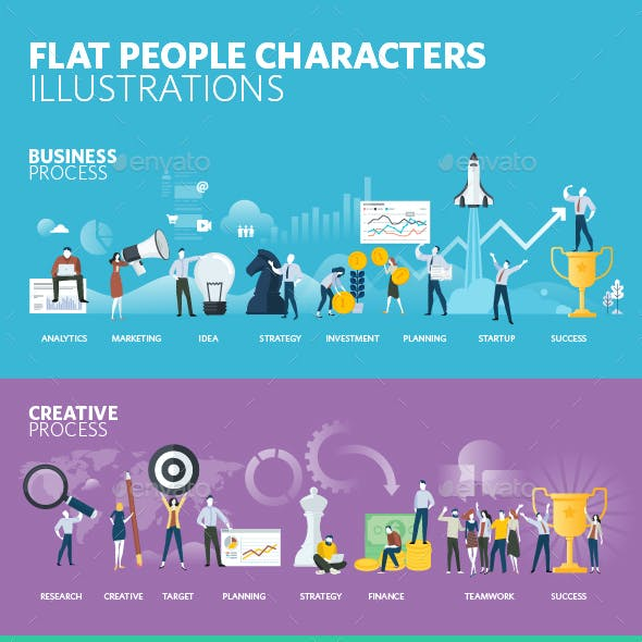 Flat Design People Illustrations