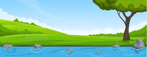 Summer Landscape of Riverbank and Tree - Landscapes Nature