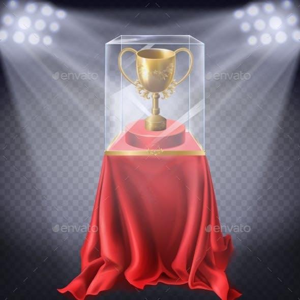 Vector Golden Cup in Showcase Museum Exhibit