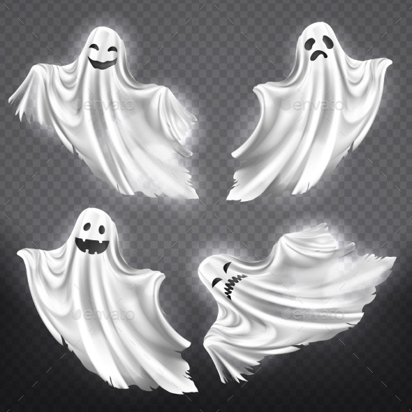 Vector Set of White Ghosts - Miscellaneous Characters