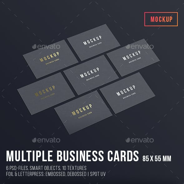 Multiple Business Cards Mockup 85x55