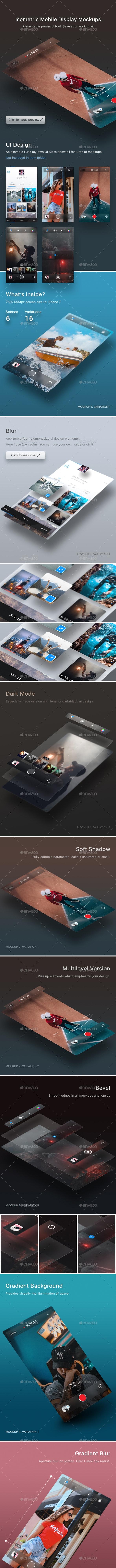 Isometric Mobile Display Mockups - Mobile Displays