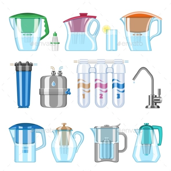 Water Filter Vector Filtering Clean Drink - Food Objects