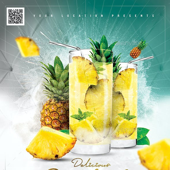Pineapple Cocktail Drink Flyer