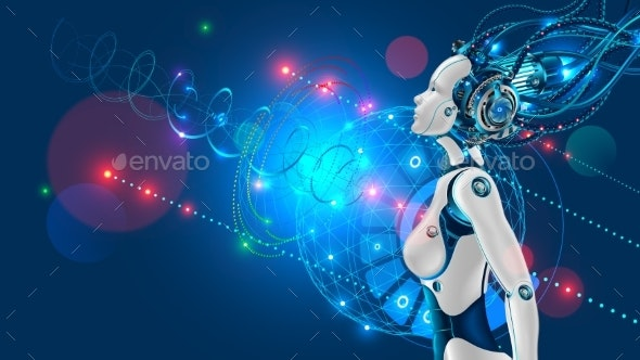 Female Humanoid Robot or Cyborg - Technology Conceptual