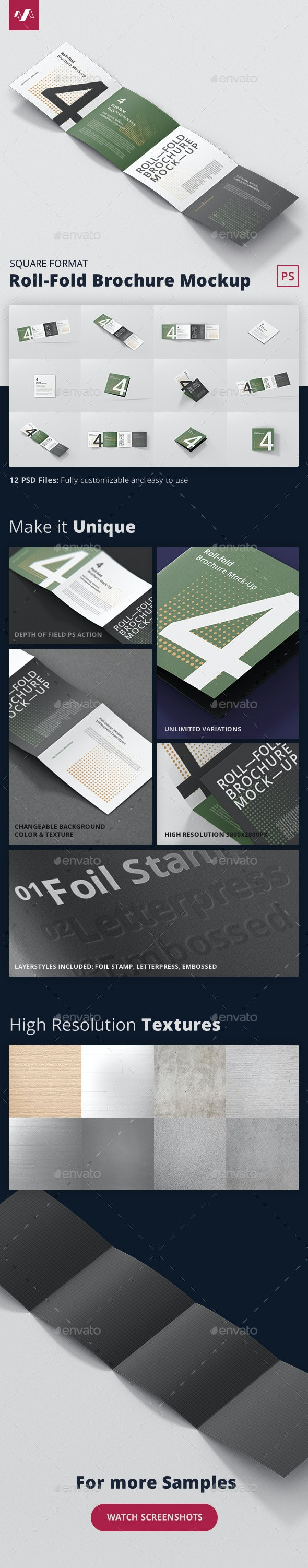 Roll-Fold Brochure Mockup - Square Format - Brochures Print