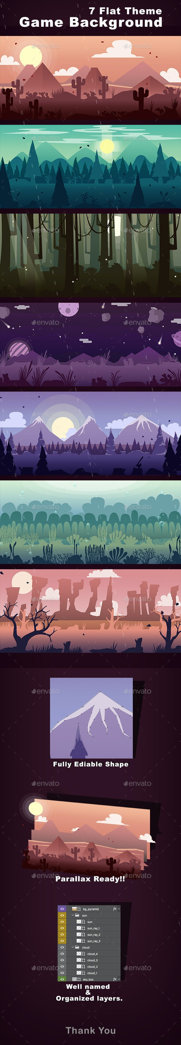Game Background Flat Theme - Backgrounds Game Assets