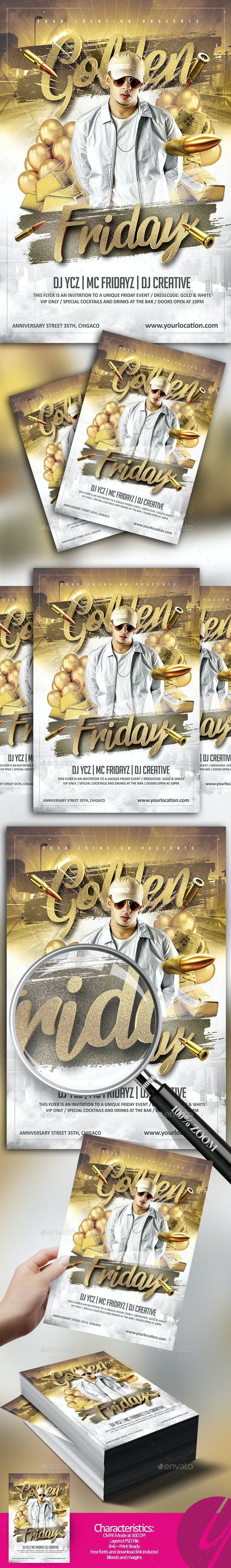 Golden Fridays Flyer - Clubs & Parties Events