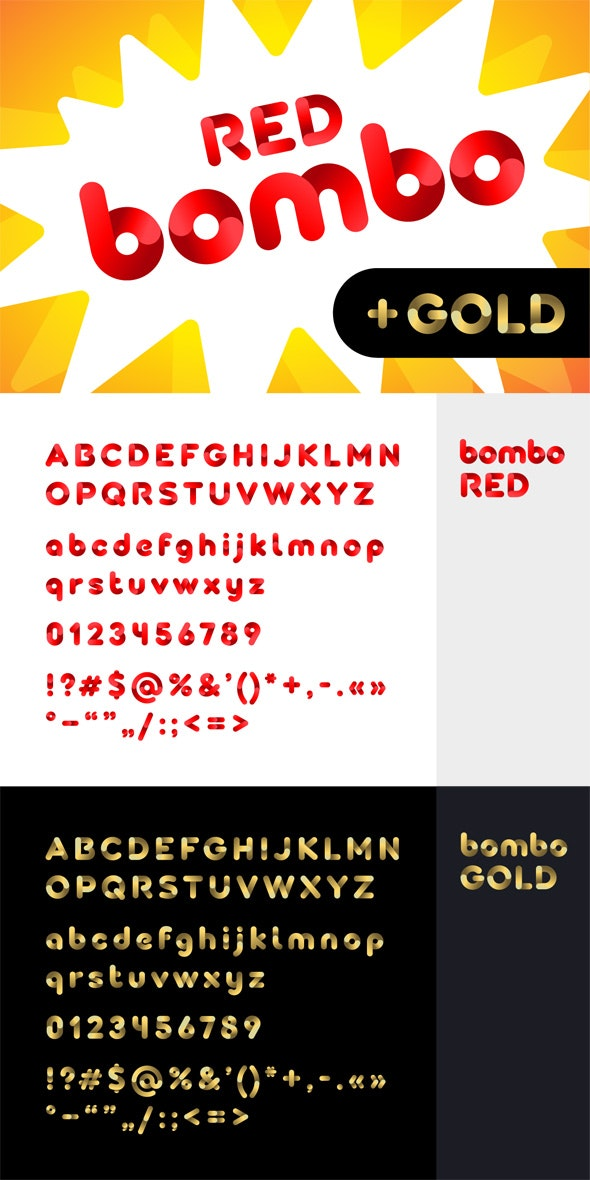 Bombo color font: Red and Gold - Decorative Fonts