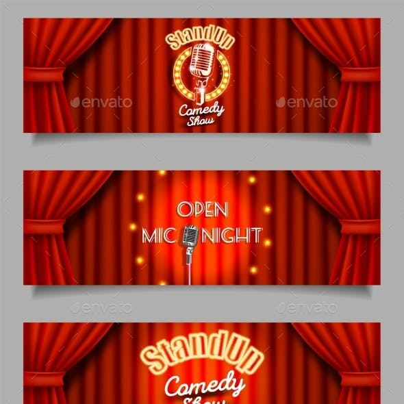 Vector Stand-Up Comedy Show Open Mic Night Banners