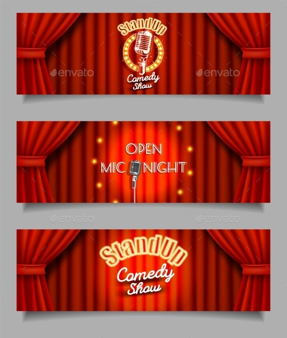 Vector Stand-Up Comedy Show Open Mic Night Banners - Backgrounds Decorative
