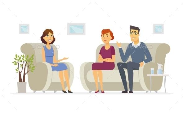 A Couple Visiting a Psychologist - Cartoon People - Health/Medicine Conceptual