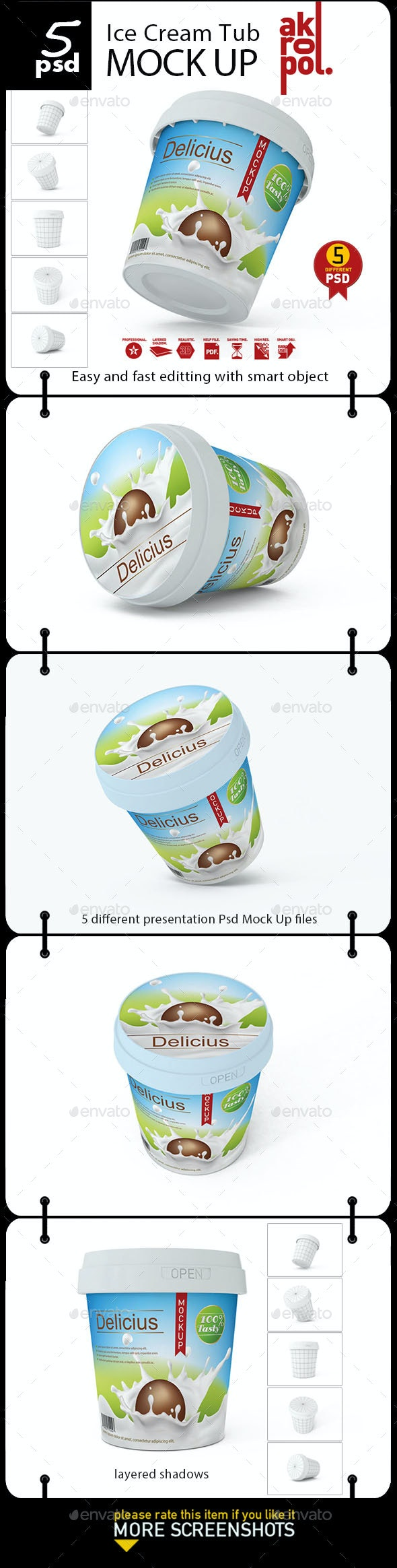 Ice Cream Tub Mock-Up - Product Mock-Ups Graphics