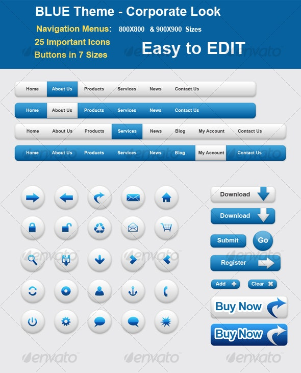 BLUE Theme - Corporate Style - Web Elements