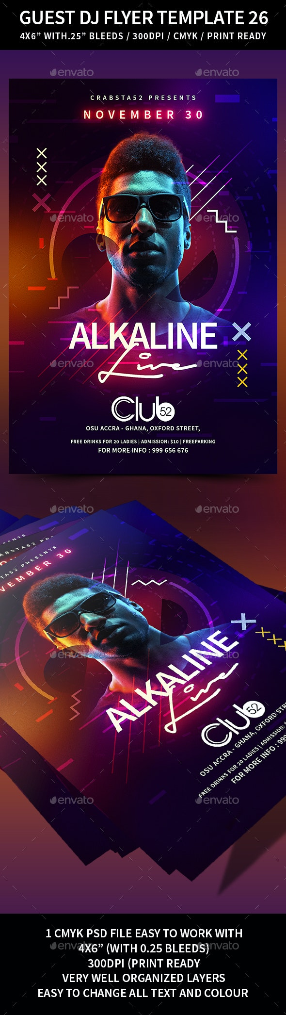 Guest Dj Flyer Template 26 - Clubs & Parties Events