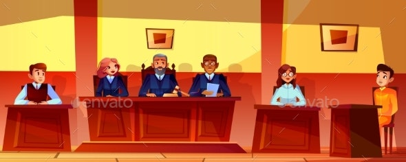 Judges at Court Hearing Vector Illustration - People Characters