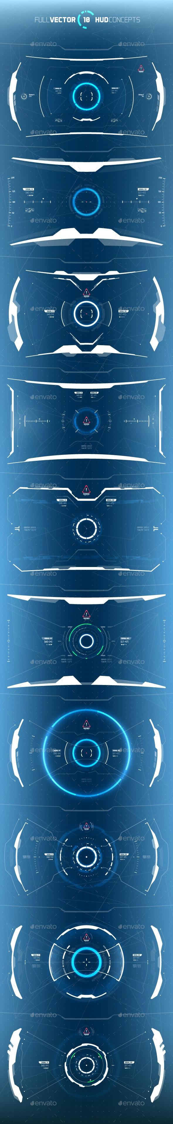 Conceptual 10 Futuristic Hi-Tech HUD Set - Miscellaneous Vectors