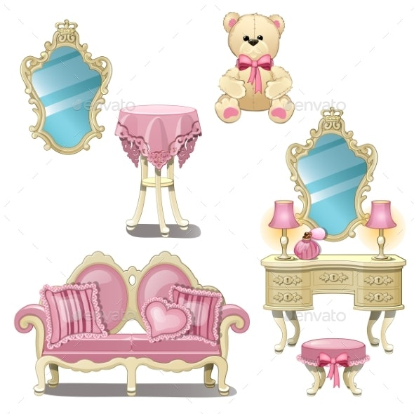 Furniture for Interior Girl Room in Pink Color - Man-made Objects Objects