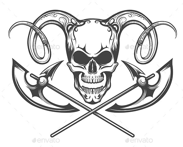 Skull with Ram Horns and Axes - Tattoos Vectors