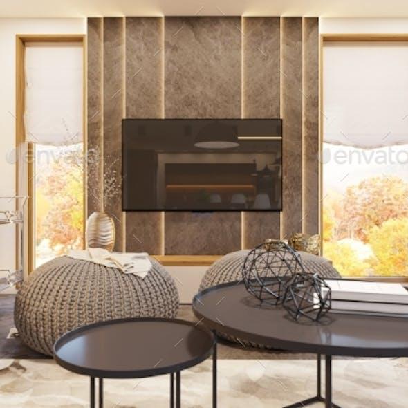 3d Render Modern Living Room Interior Design with