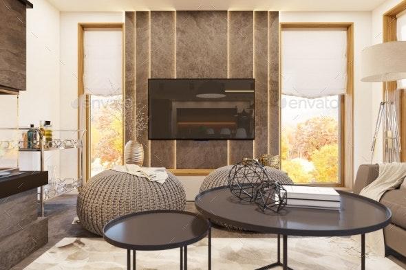 3d Render Modern Living Room Interior Design with - 3D Backgrounds
