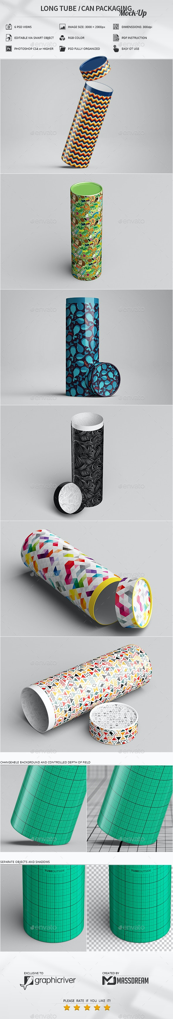 Long Tube / Can Packaging Mock-Up - Miscellaneous Packaging