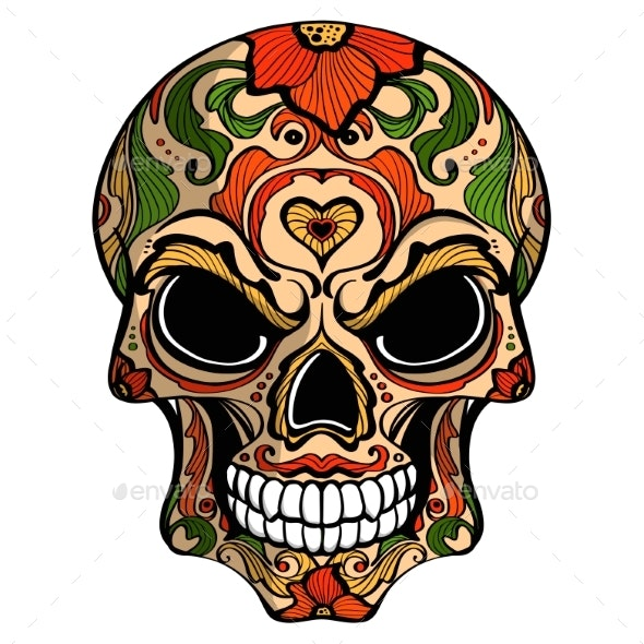 Day of The Dead Skull with Floral Ornament - Flowers & Plants Nature