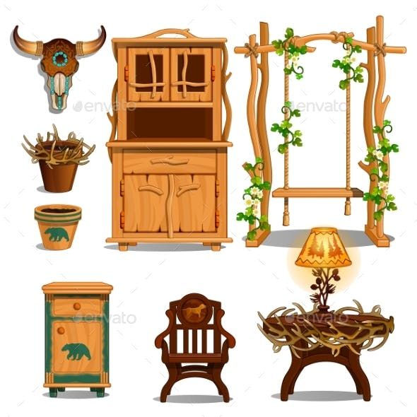 Furniture for Interior of the Hut of a Forester