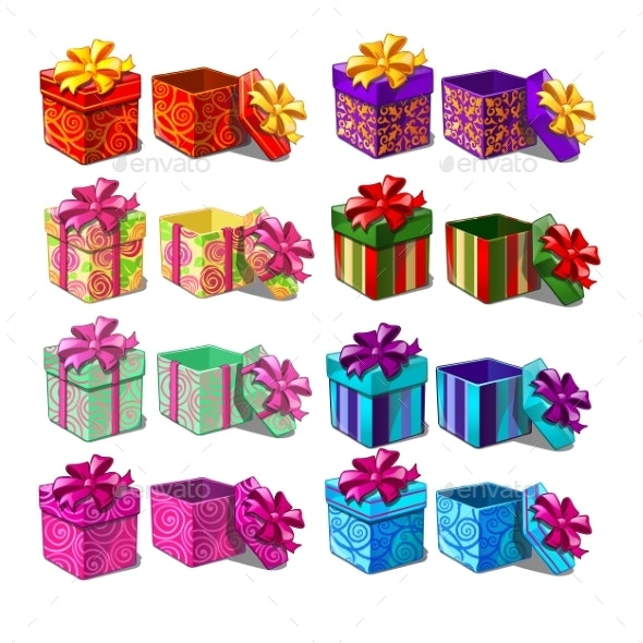 Set of Gift Boxes Isolated on White Background - Miscellaneous Seasons/Holidays