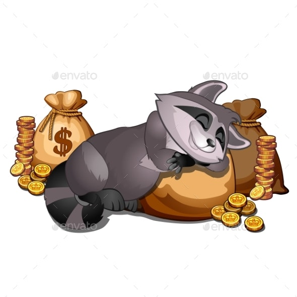 Rich Raccoon Sleeping on a Sack of Gold Coins - Animals Characters
