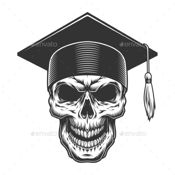 Skull in the Graduate Hat - Miscellaneous Vectors