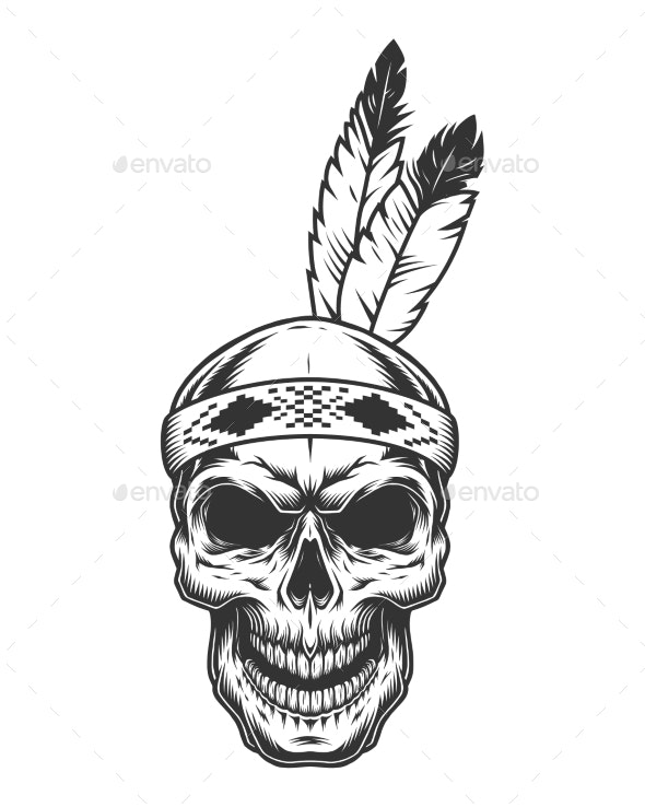 Skull with Indian Feather - Animals Characters