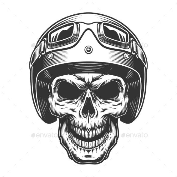 Skull in the Moto Helmet - Miscellaneous Vectors