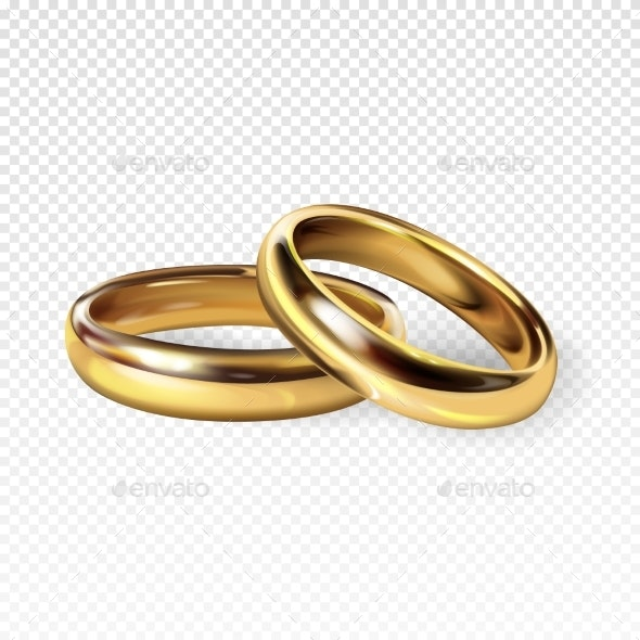 Golden Wedding Rings Vector Illustration - Man-made Objects Objects
