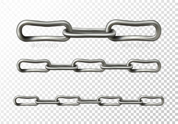 Metal Chain Links Closeup Vector Illustration - Man-made Objects Objects
