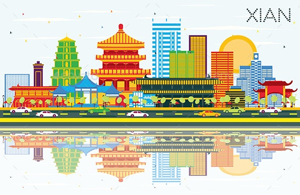 Xian China Skyline with Color Buildings - Buildings Objects