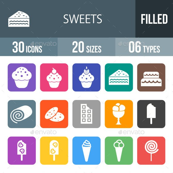 Sweets Glyph Inverted Icons