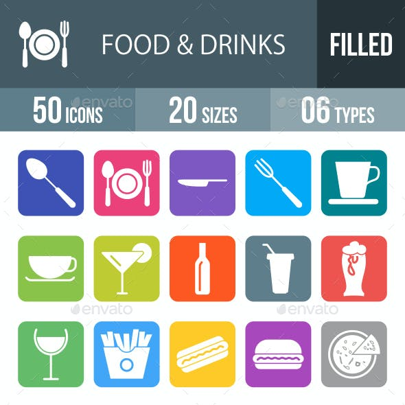 Food & Drinks Glyph Inverted Icons