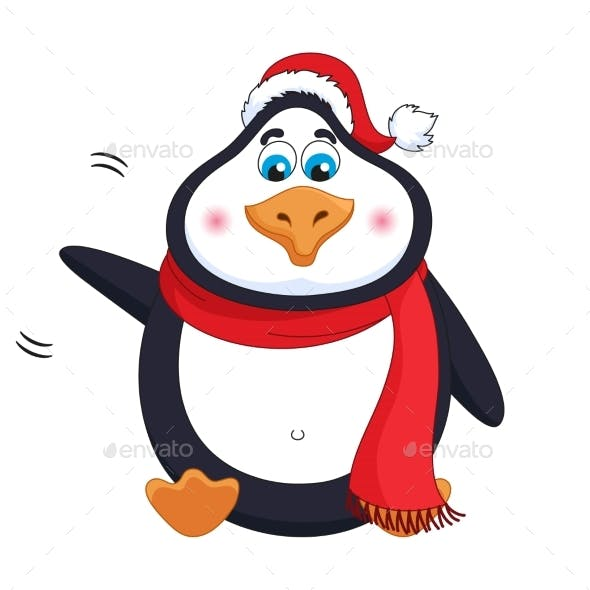 New Years Kind Cheerful Penguin Welcomes
