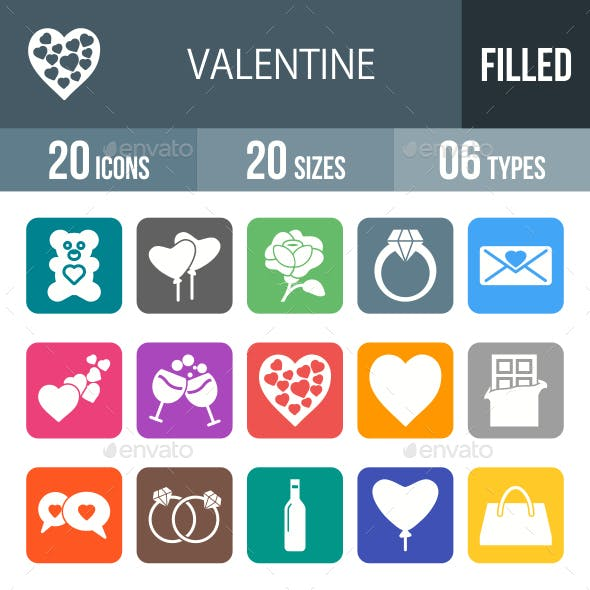 Valentine Glyph Inverted Icons